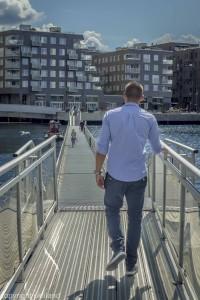 Bilde av Dag Nordby på vei til Sørenga sjøbad